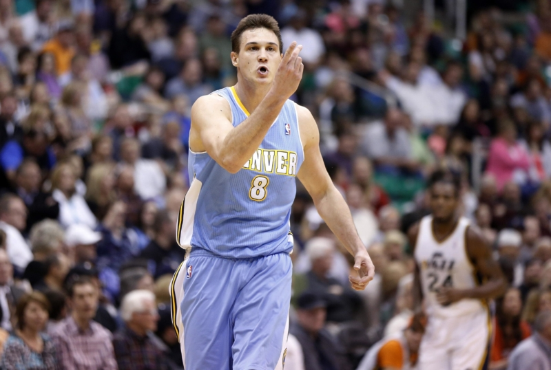 Denver Nuggets forward Gallinari reacts after making a shot during the second half of their NBA basketball game against the Utah Jazz in Salt Lake City