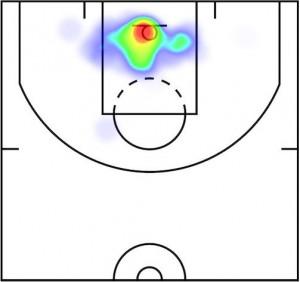 Shot chart di Dwight Howard, stagione 2014-15