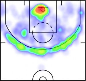 Shot chart di James Harden, stagione 2014-15