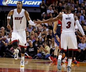 Le stelle dei Miami Heat, in una delle poche partite in cui hanno giocato insieme l'anno scorso.
