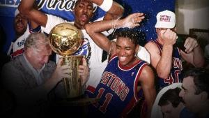 I Pistons festeggiano il titolo appena vinto