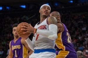 Carmelo Anthony, il presente di New York si fa largi tra Kobe Bryant (#24) e D'Angelo Russell (#1), passato e futuro dei Lakers