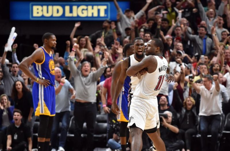Jan 23, 2017; Miami, FL, USA; Miami Heat guard Dion Waiters (11) reacts after making the game winning basket against the Golden State Warriors during the second half at American Airlines Arena. The Heat defeated the Golden State Warriors 105-102. Mandatory Credit: Steve Mitchell-USA TODAY Sports