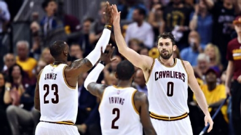 Kevin Love, Kyrie Irving, LeBron James