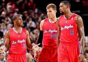 Da sinistra: Chris Paul, Blake Griffin e DeAndre Jordan, con le divise che accompagneranno l'era di 'Lob City'