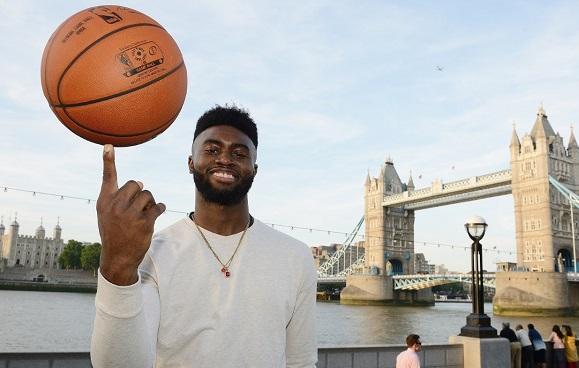 NBA Global Games Jaylen Brown posing in front of Tower Bridge