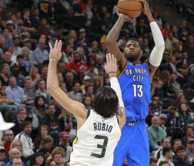 Paul George-Thunder: OKC sarebbe in pole per tenerlo-Paul George-Jazz-thunder-jazz-playoffs gara 1