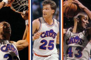 Da sinistra, Larry Nance, Mark Price e Brad Daugherty, stelle dei Cavs Anni '80