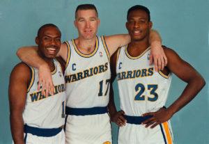 Il trio 'Run TMC'. (da sinistra) Tim Hardaway, Chris Mullin e Mitch Ritchmond