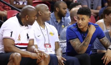 Magic Johnson and Kyle Kuzma at Las Vegas Summer League