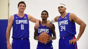 I veterani dei Clippers 2018/19. Da sinistra, Danilo Gallinari, Lou Williams e Tobias Harris