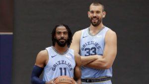 Mike Conley (a sinistra) e Marc Gasol saranno ancora una volta i leader dei Memphis Grizzlies