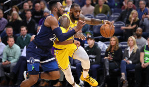 LeBron James, Los Angeles Lakers vs Minnesota Timberwolves at Target Center