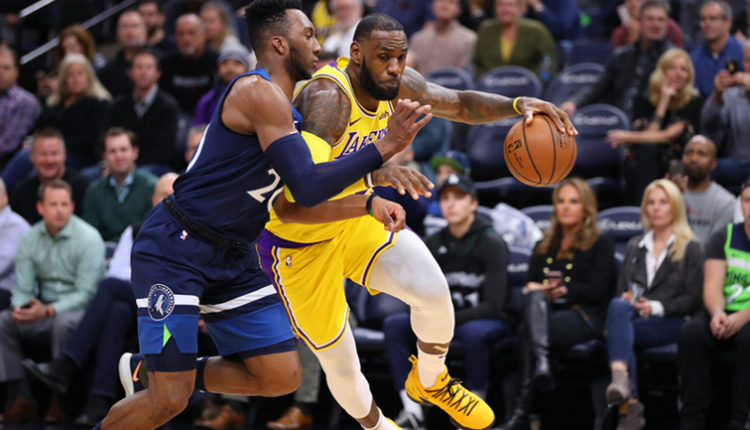 LeBron James, Los Angeles Lakers vs Minnesota Timberwolves at Target Center