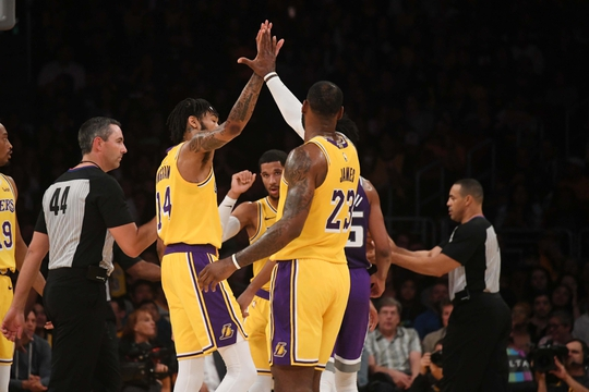 LeBron James-Lakers-Brandon Ingram and LeBron Jams, Los Angeles Lakers vs Sacramento Kings at Staples Center