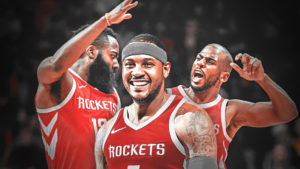 I 'Big Three' di Houston. Da sinistra, James Harden, Carmelo Anthony e Chris Paul