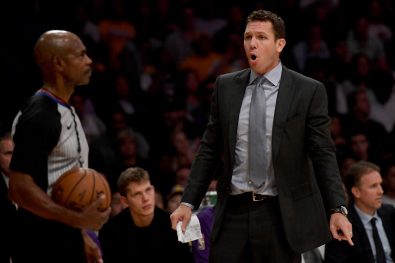 Coach Luke Walton, Los Angeles Lakers vs San Antonio Spurs at Staples Center