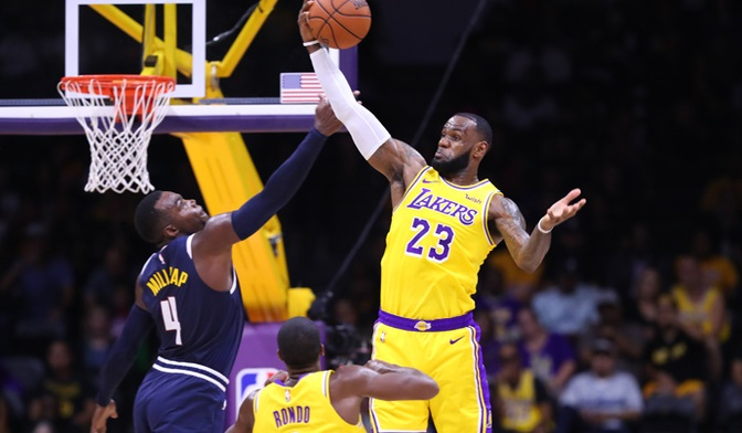 ENOUGH-LeBron James, Los Angeles Lakers vs Denver Nuggets at Valley View Casino Center
