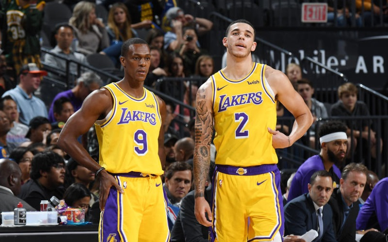 Rajon Rondo and Lonzo, Los Angeles Lakers vs Golden State Warriors at T-Mobile Arena