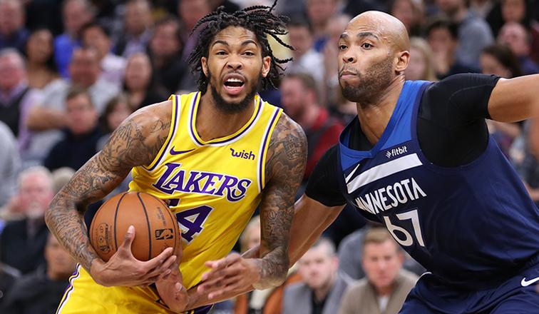 Brandon Ingram and Taj Gibson, Los Angeles Lakers vs Minnesota Timberwolves at Target Center