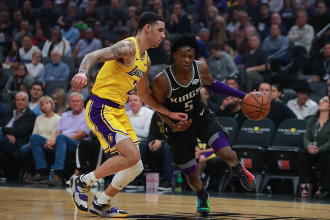 Lonzo Ball and De'Aaron Fox, Los Angeles Lakers vs Sacramento Kings at Golden 1 Center
