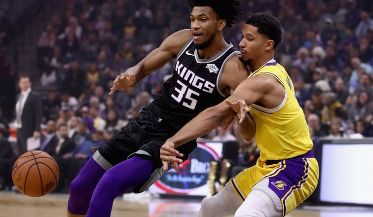 Marvin Bagley III and Josh Hart, Los Angeles Lakers vs Sacramento Kings at Golden 1 Center