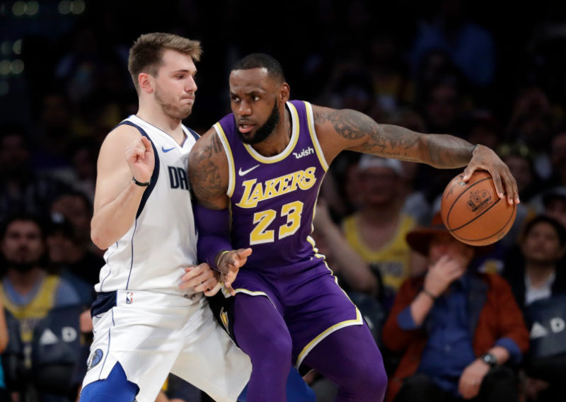 LeBron James and Luka Doncic, Los Angeles Lakers vs Dallas Mavericks at Staples Center