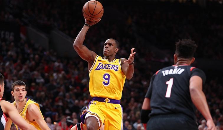 Rajon Rondo, Los Angeles Lakers vs Portland Trail Blazers at Moda Center