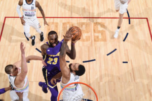 LeBron James, Los Angeles Lakers vs Denver Nuggets at Pepsi Center