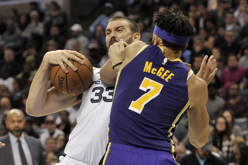 Marc Gasol and JaVale McGee, Los Angeles Lakers vs Memphis Grizzlies at FedExForum