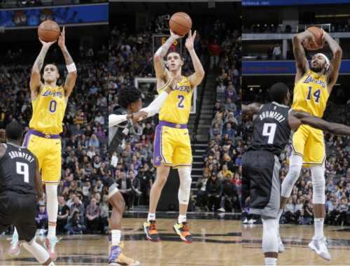 Kyle Kuzma, Lonzo Ball and Brandon Ingram, Los Angeles Lakers vs Sacramento Kings at Golden 1 Center (Rocky Widner, NBAE via Getty Images)