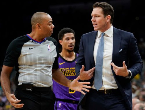 Coach Luke Walton and referee Karl Lane, Los Angeles Lakers vs San Antonio Spurs at AT&T Center