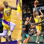 Lonzo Ball and Lebron James, Los Angeles Lakers vs Charlotte Hornets at Spectrum Center