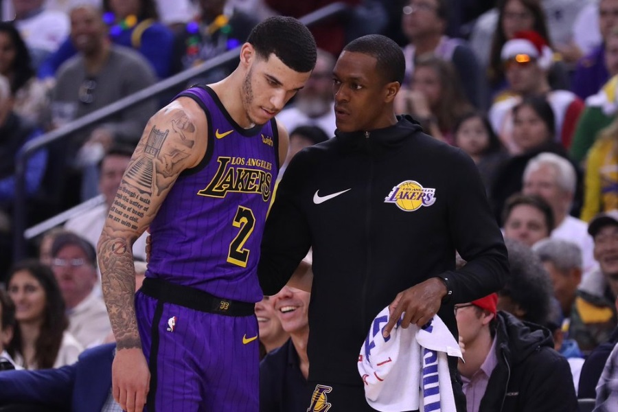 Lonzo Ball and Rajon Rondo, Los Angeles Lakers vs Golden State Warriors at Oracle Arena