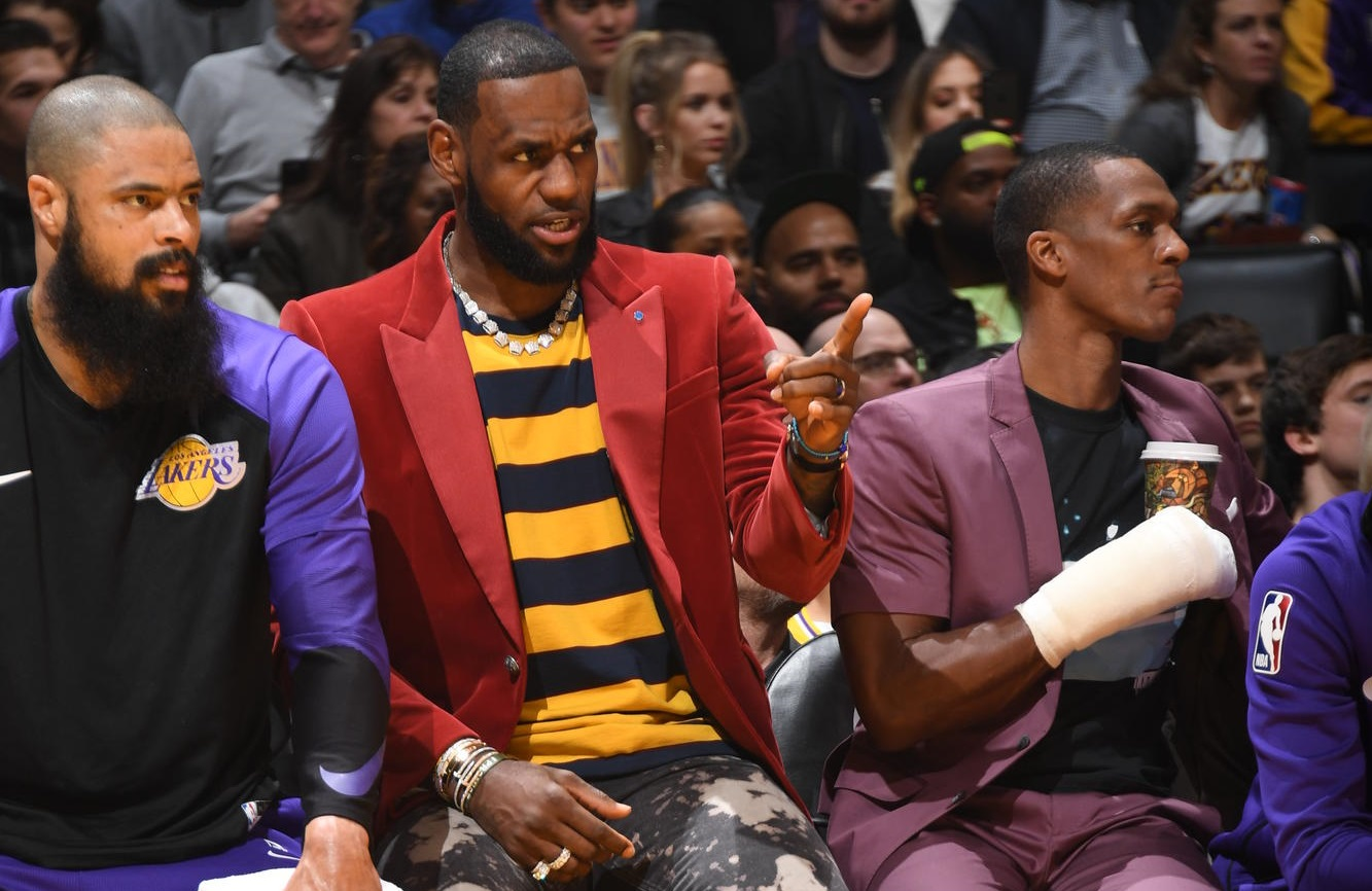 Tyson Chandler, LeBron James and Rajon Rondo. Los Angeles Lakers vs Sacramento Kings at Staples Center