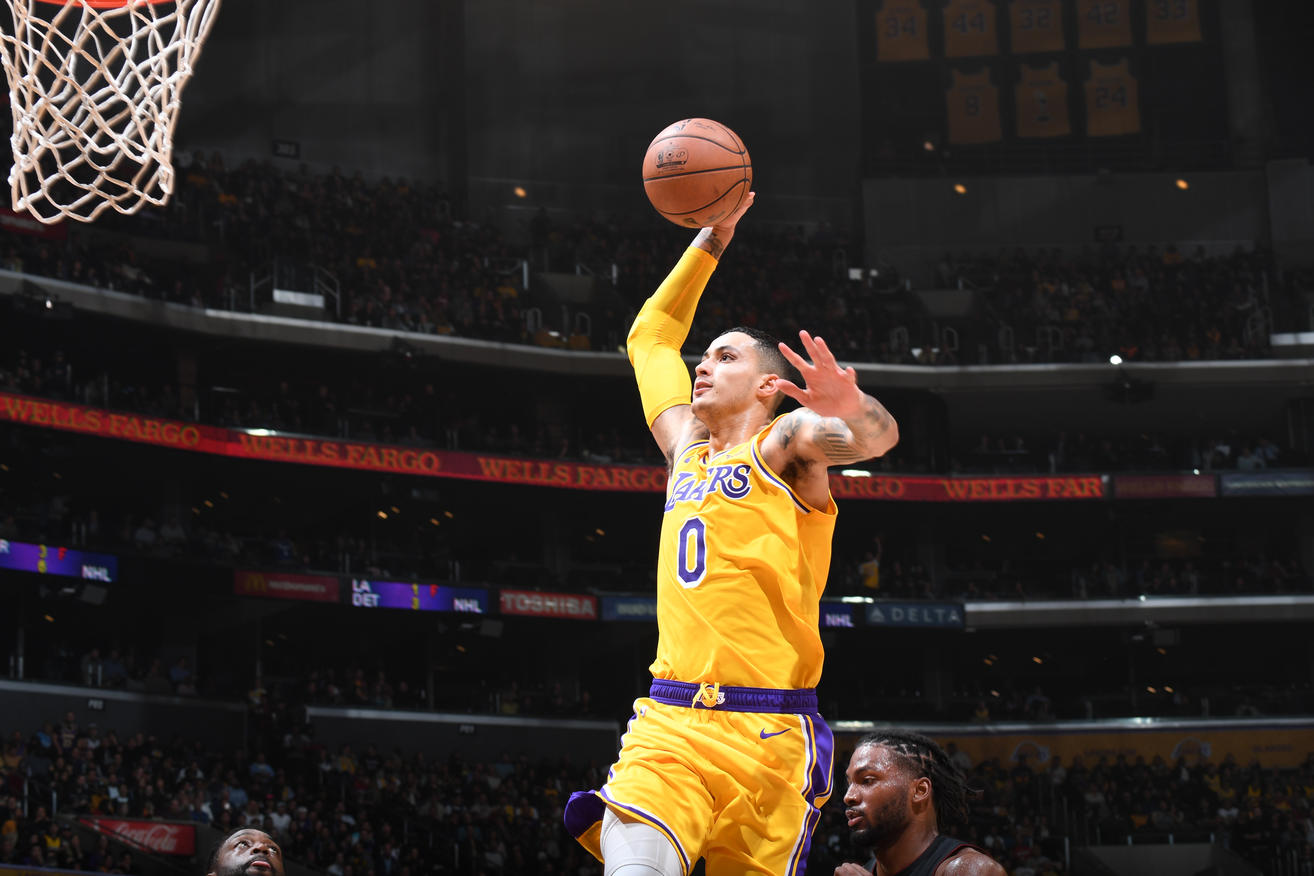 Kyle Kuzma, Los Angeles Lakers vs Miami Heat at Staples Center