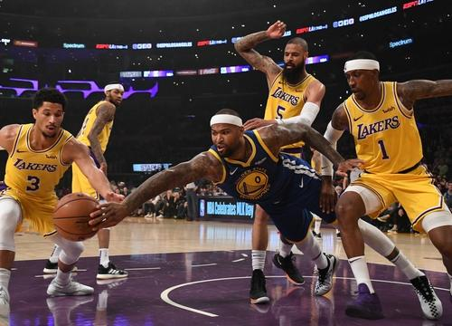 DeMarcus Cousins, Los Angeles Lakers vs Golden State at Staples