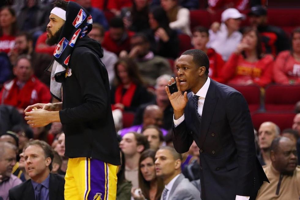 JaVale McGee and Rajon Rondo, Los Angeles Lakers vs Houston Rockets at Toyota Center