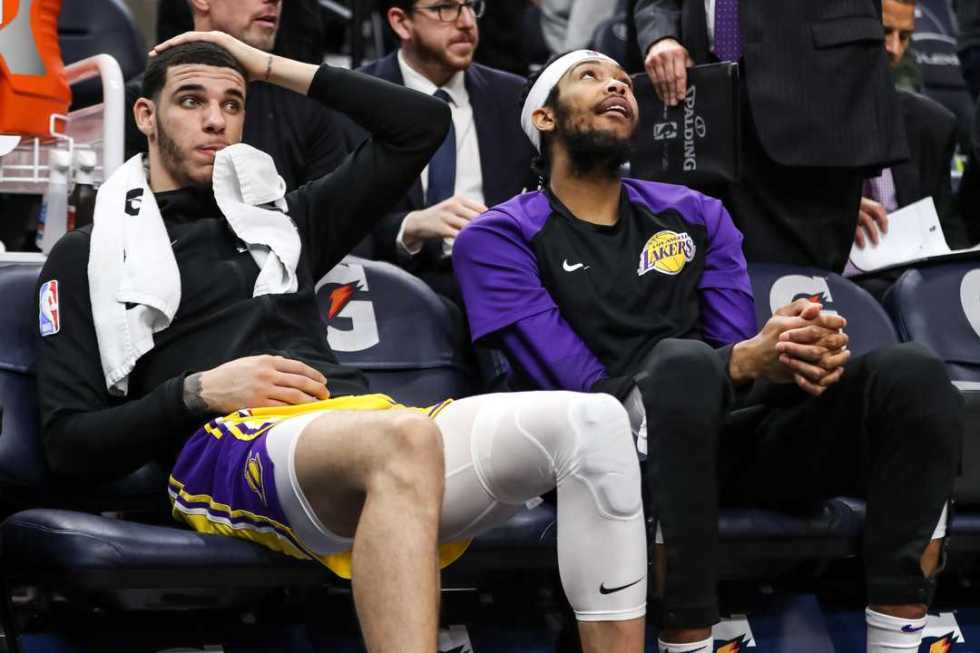 Lonzo Ball and Brandon Ingram, Los Angeles Lakers vs Minnesota Timberwolves at Target Center