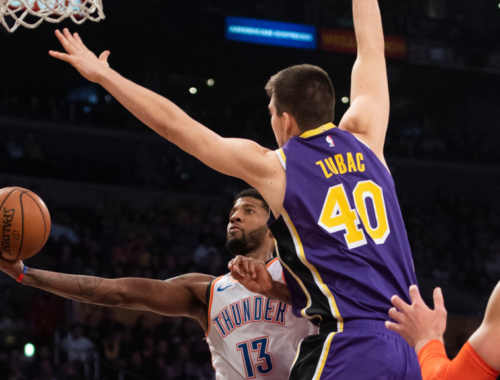 Paul George and Ivica Zubac, Los Angeles Lakers vs Oklahoma City Thunder at Staples Center
