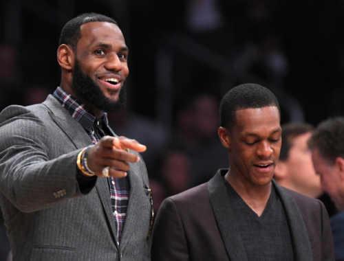 LeBron James and Rajon Rondo, Los Angeles Lakers vs Detroit Pistons