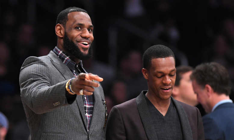 LeBron James and Rajon Rondo, Los Angeles Lakers vs Detroit Pistons