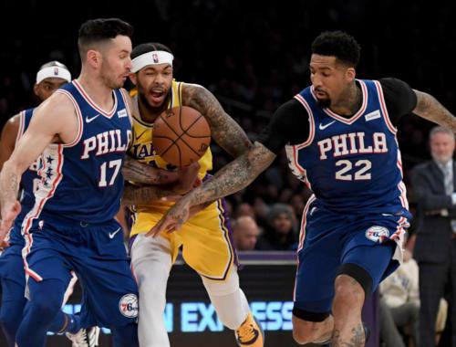 Brandon Ingram, JJ Redick and Wilson Chandler. Los Angeles Lakers vs Philadelphia 76ers at Staples Center