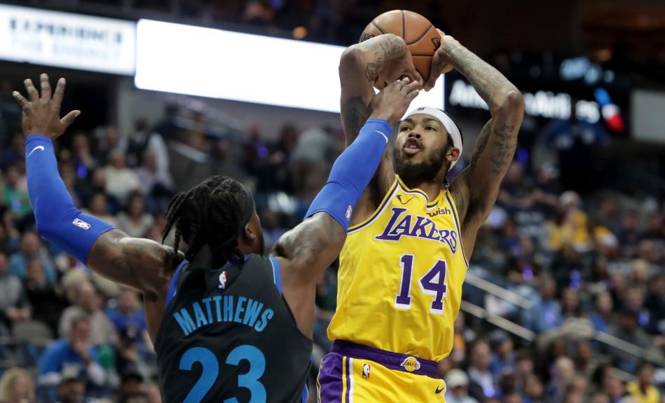 potenza dei social-Brandon Ingram and Wesley Matthews, Los Angeles Lakers vs Dallas Mavericks at American Airlines Center