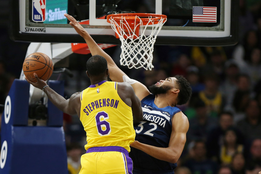 Lance Stephenson and Karl-Anthony Towns, Los Angeles Lakers vs Minnesota Timberwolves at Target Center