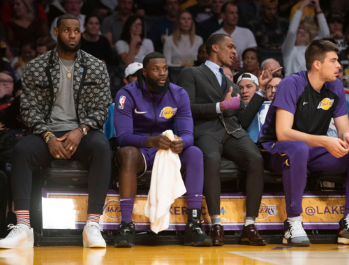 Lebron James, Lance Stephenson, Rajon Rondo and Ivica Zubac. Los Angeles Lakers vs Oklahoma City Thunder at Staples Center