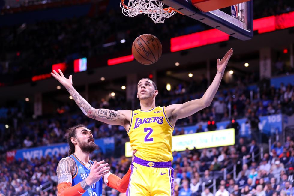 Lonzo Ball, Los Angeles Lakers vs Oklahoma City Thunder at Chesapeake Energy Arena