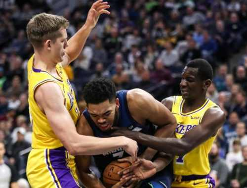 Moritz Wagner and Isaac Bonga, Los Angeles Lakers vs Minnesota Timberwolves at Target Center