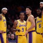 Brandon Ingram, Rajon Rondo, Josh Hart, Lance Stephenson and JaVale McGee, Los Angeles Lakers vs Minnesota Timberwolves at Staples Center