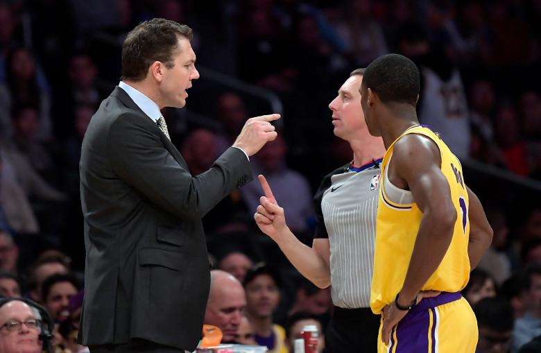 Coach Luke Walton, referee Justin Van Duyne and Rajon Rondo. Los Angeles Lakers vs Minnesota Timberwolves at Staples Center